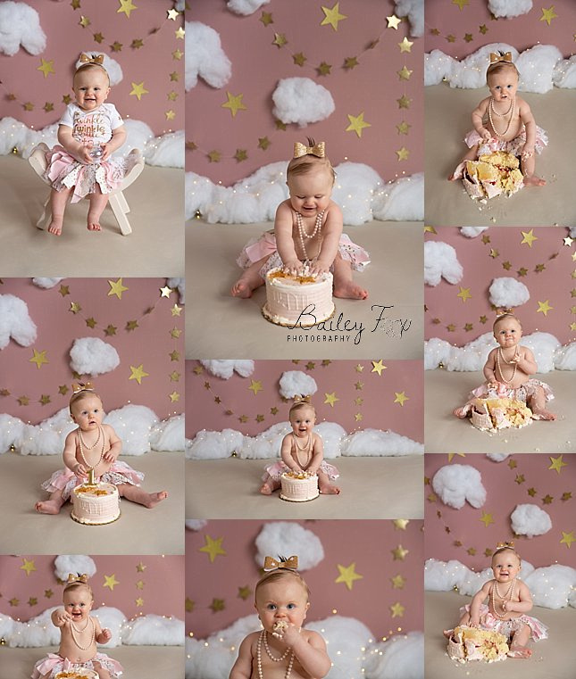 twinkle twinkle cake smash session photographed in warwick ri