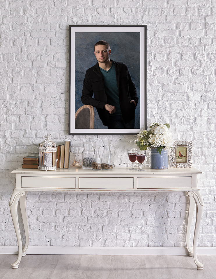 brick wall and frame modern decorative concept