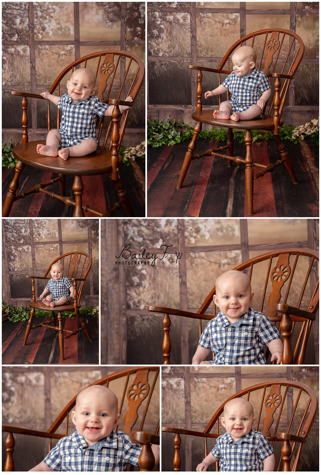 6 month baby session on a window backdrop