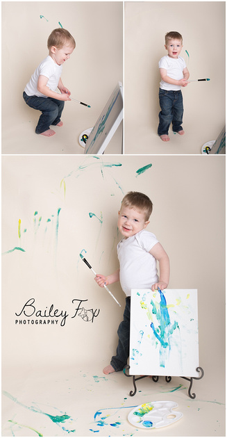 paint splash second birthday baby photos