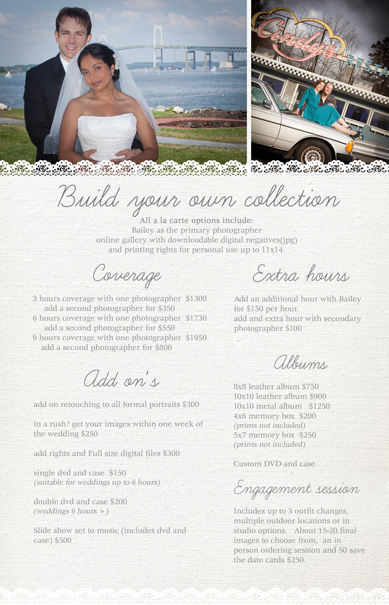 Pricing info for weddings photographed by bailey fox photography, Bailey is a wedding and newborn photographer based in Rhode Island her portrait studio can be found off exit 6.  She photographs for weddings and newborns to RI and south eastern Ct.