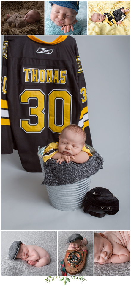 newborn posing ideas taken in studio with boston bruins gear