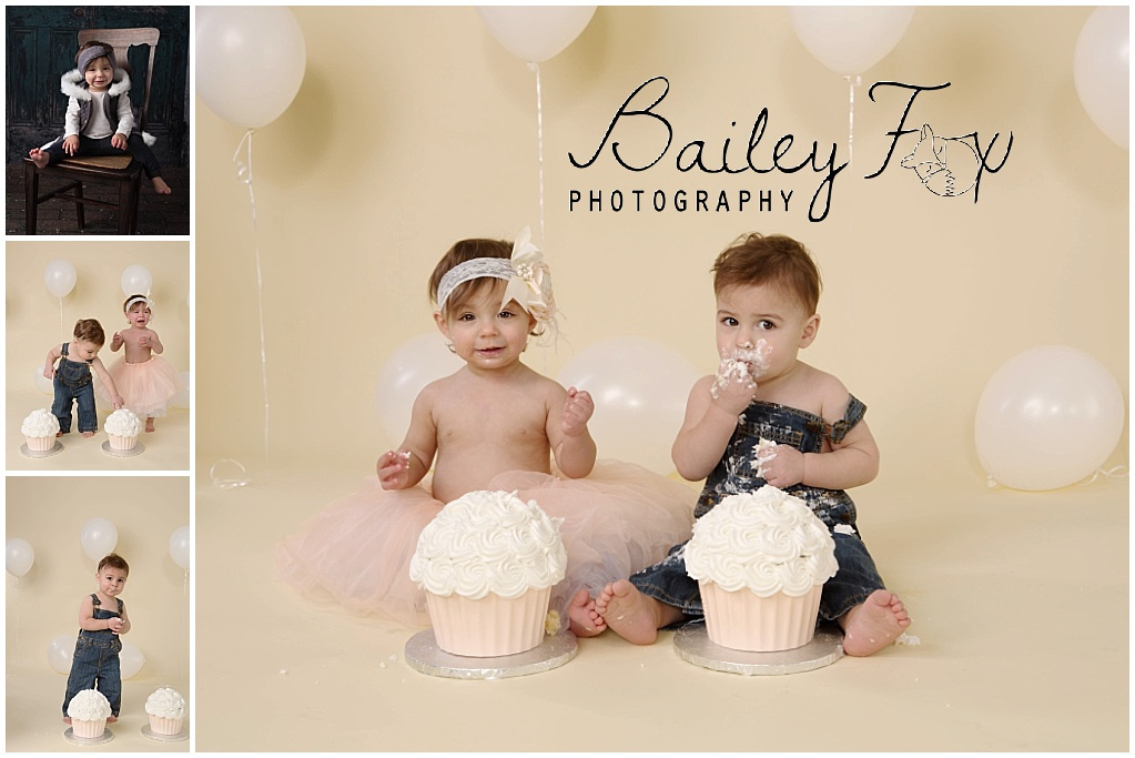 baby's first birthday twins taken on a cream drop with white balloons.
