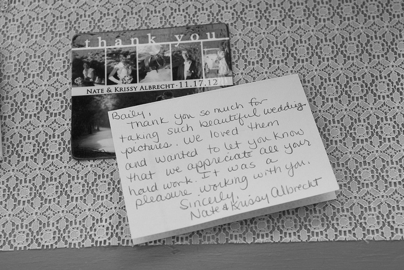This is a hand written note from the bride reviewing Bailey Fox photography's RI wedding photography.