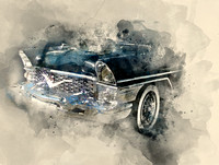 Retro car. Watercolor background
